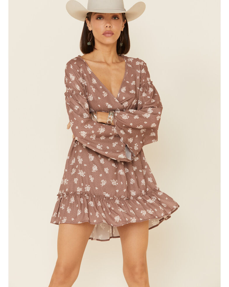 Peach Love Women's Mocha Floral Bell Sleeve Dress, Brown, hi-res