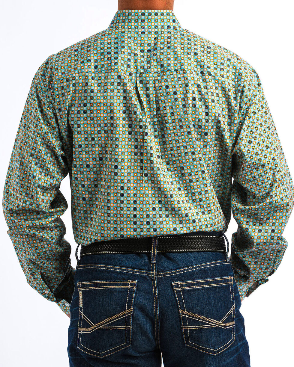 Cinch Men's Popping Print Western Shirt , Blue, hi-res