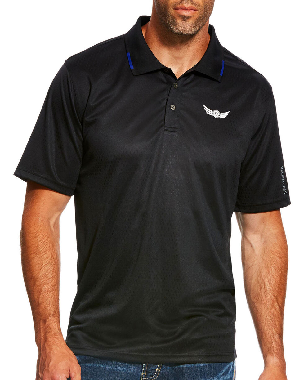 Ariat Men's Relentless Black Zephyr Polo, Black, hi-res