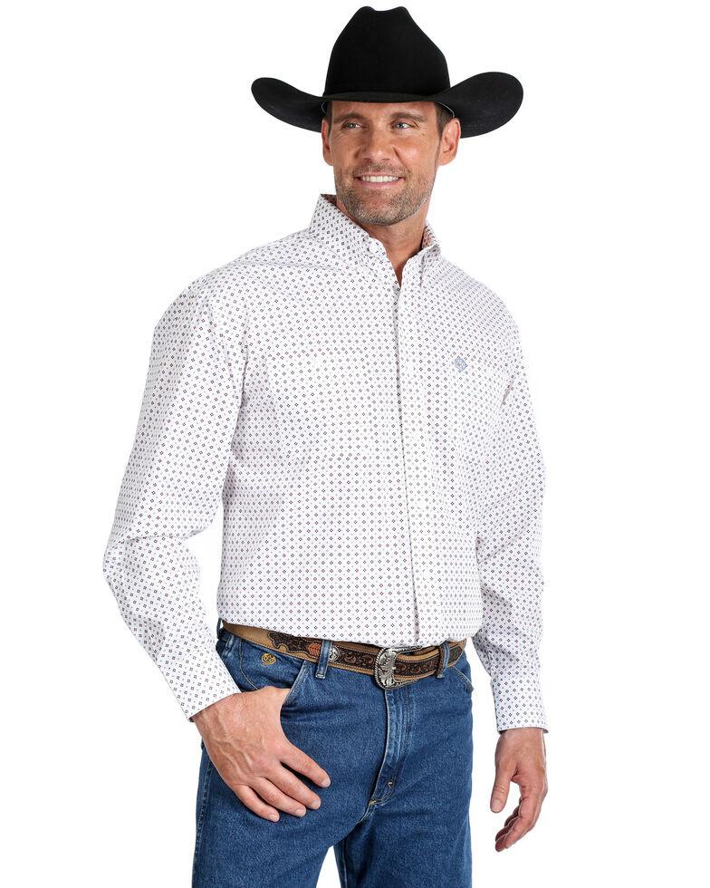 George Strait By Wrangler Men's Small Diamond Geo Print Long Sleeve Western Shirt - Big , White, hi-res
