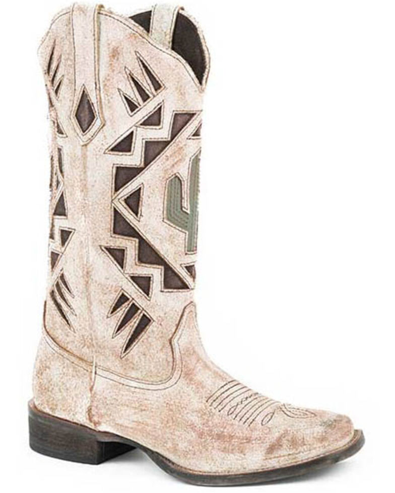Roper Women's Creme White Antique Western Boots - Round Toe, Tan, hi-res