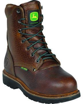 "John Deere® Men's 8"" Metatarsal Guard Lace-up Work Boots, Brown, hi-res"