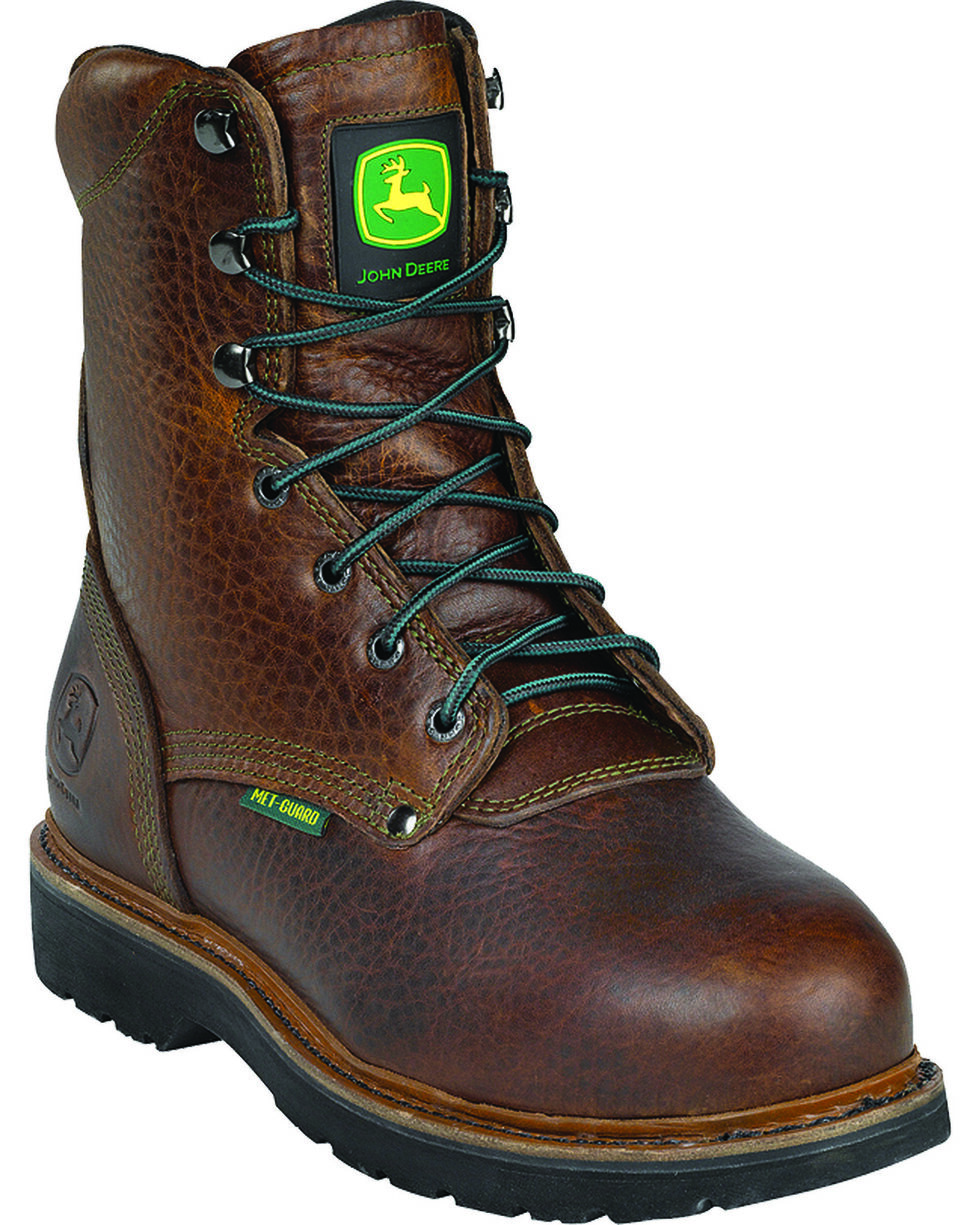 "John Deere® Men's 8"" Metatarsal Guard Lace-up Work Boots, Brown, hi-res"