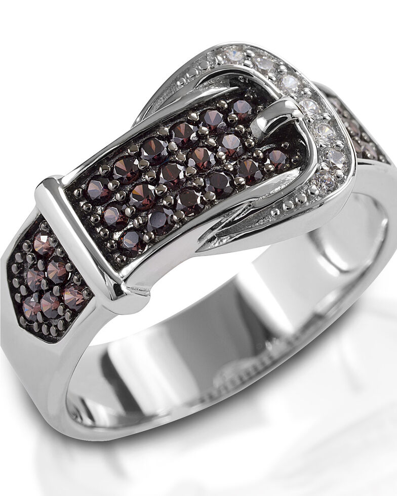 Kelly Herd Women's Cognac Buckle Ring , Silver, hi-res