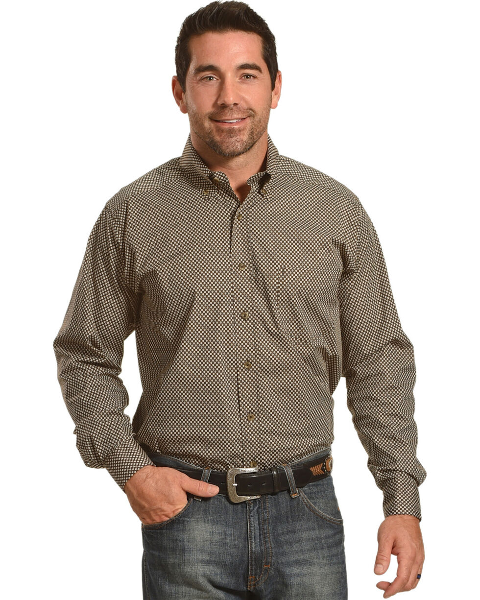Tuf Cooper Performance by Panhandle Brown Print Stretch Shirt , Brown, hi-res
