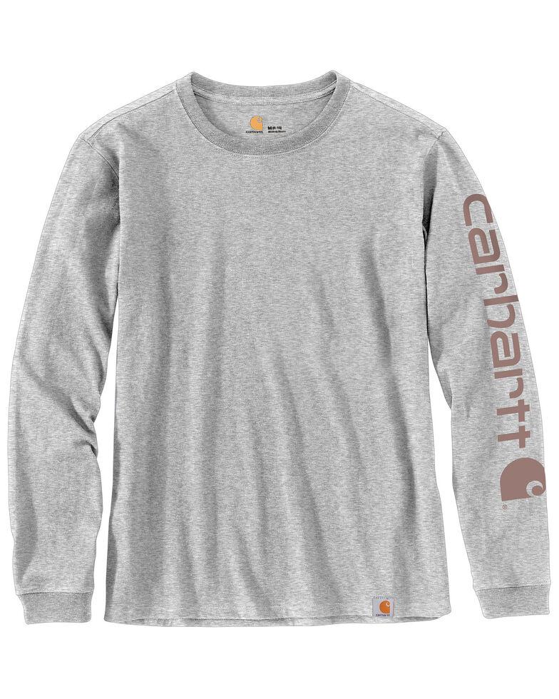 Carhartt Women's Workwear Sleeve Logo Long-Sleeve T-Shirt, Heather Grey, hi-res