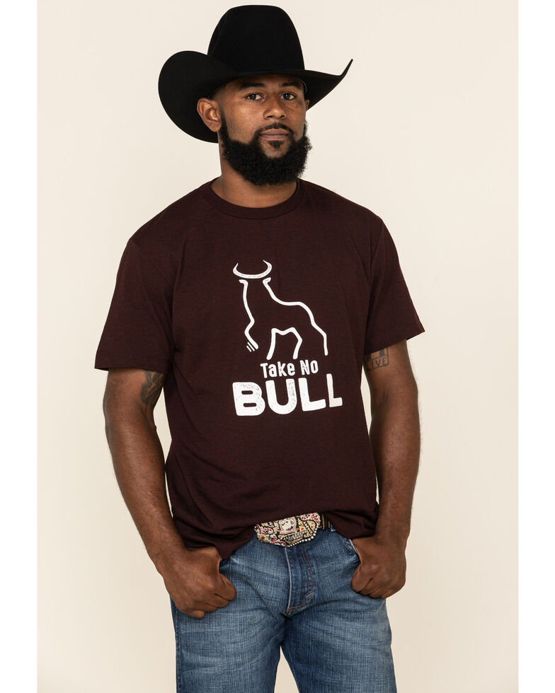 Cody James Men's Take No Bull Graphic Short Sleeve T-Shirt , Burgundy, hi-res