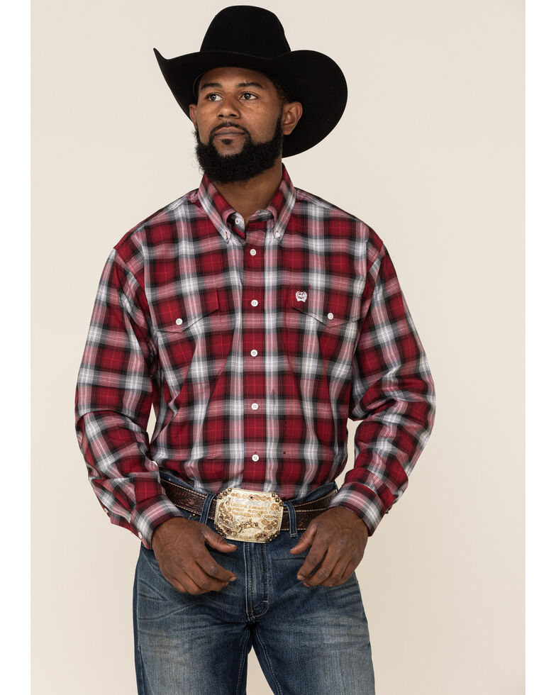 Cinch Men's Burgundy Large Plaid Double Pocket Long Sleeve Western Shirt , Burgundy, hi-res
