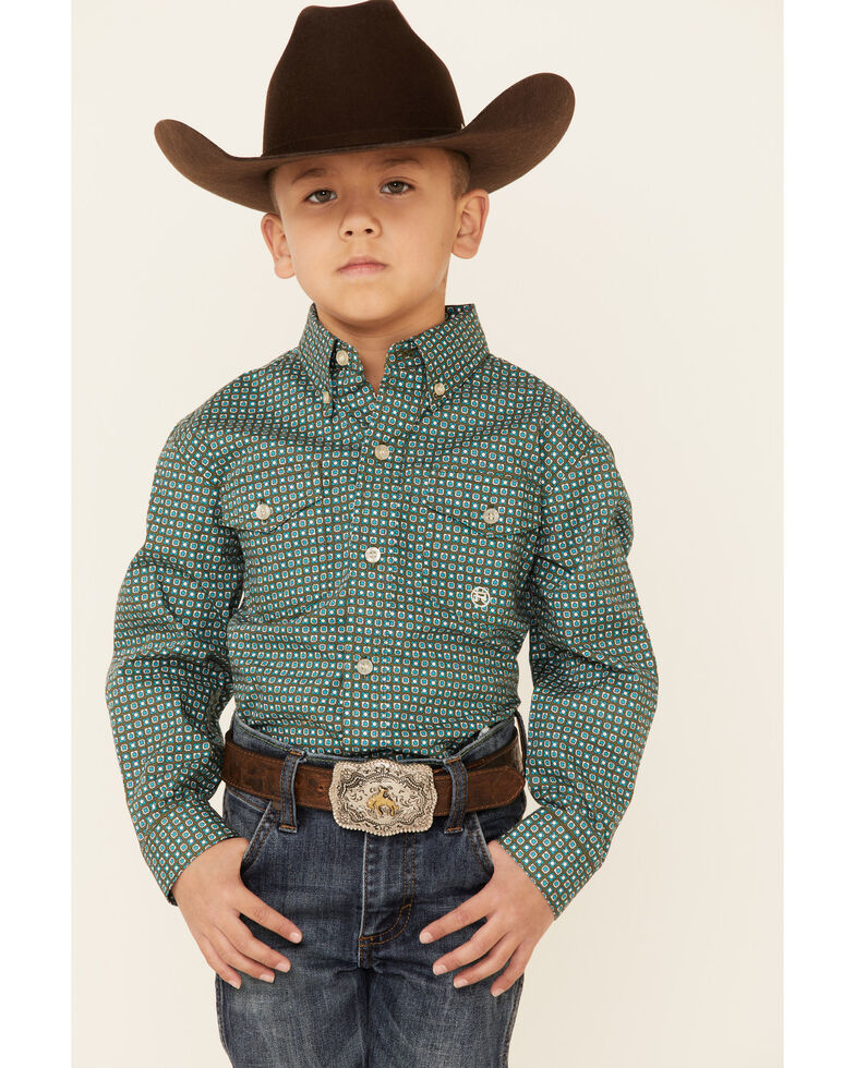 Amarillo Boys' Cool Pines Block Geo Print Long Sleeve Button-Down Western Shirt , Green, hi-res