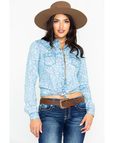Rock & Roll Cowgirl Women's Chambray Long Sleeve Western Shirt, Light Blue, hi-res