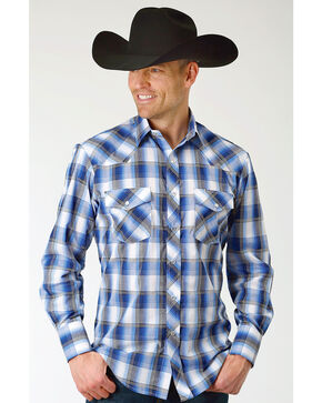 Roper Men's Blue & White Grid Plaid Long Sleeve Snap Shirt, Blue, hi-res