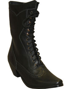 """Rawhide by Abilene Women's 8"""" Victorian Lace Up Boots - Snip Toe, Black, hi-res"""