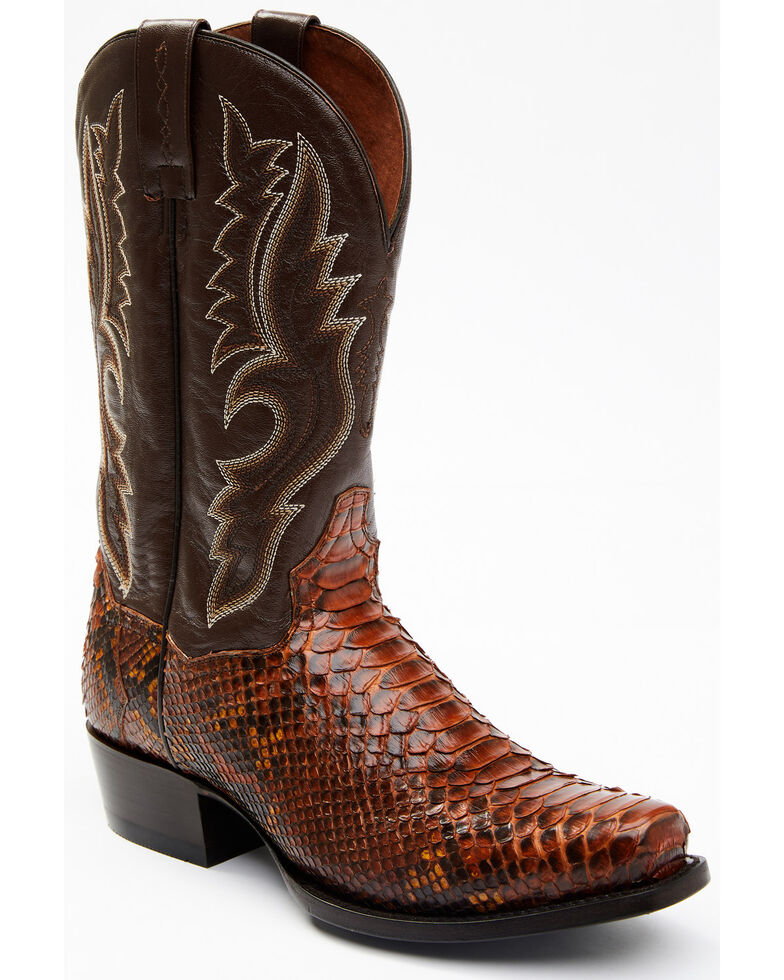 Dan Post Men's Rustic Exotic Python Western Boots - Square Toe, Cognac, hi-res
