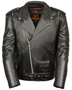 Milwaukee Leather Men's 3X Black Vented Side Lace Leather Motorcycle Jacket  , Black, hi-res