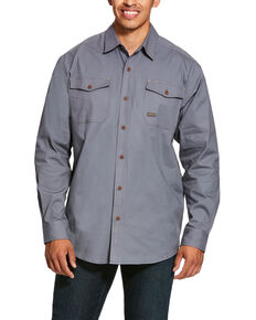 Ariat Men's Steel Rebar Made Tough Durastretch Long Sleeve Work Shirt - Big & Tall , Steel, hi-res