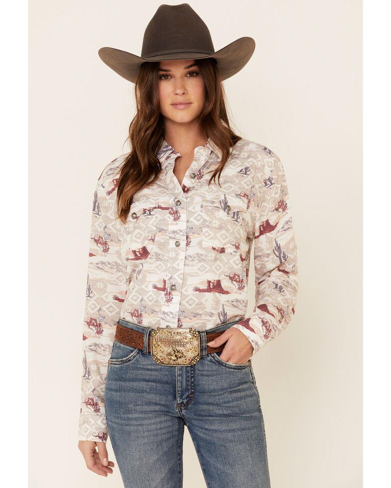 Wrangler Retro Women's Aztec Desert Scene Long Sleeve Western Shirt , Taupe, hi-res