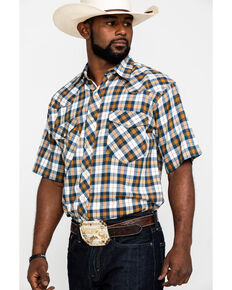 Resistol Men's Navy Brazoria Plaid Short Sleeve Western Shirt , Navy, hi-res