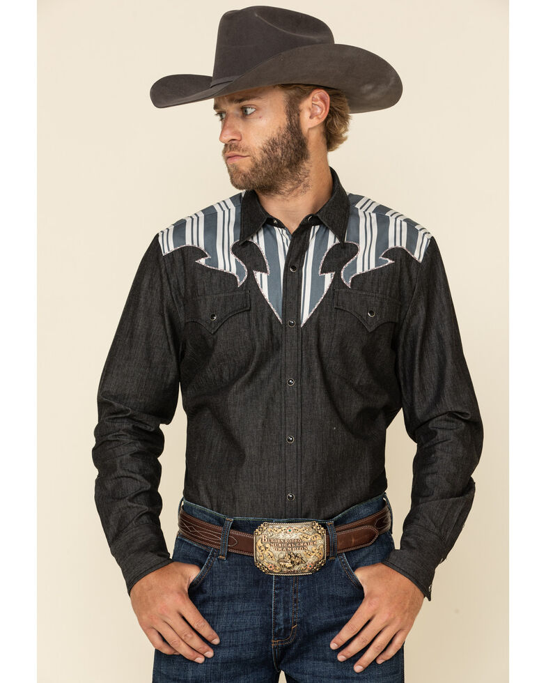 H Bar C Ranchwear Men's Navy Striped Yolk Long Sleeve Western Shirt , Navy, hi-res