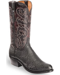 Lucchese Men's Black Handmade Nathan Smooth Ostrich Western Boots - Medium Toe , Black, hi-res