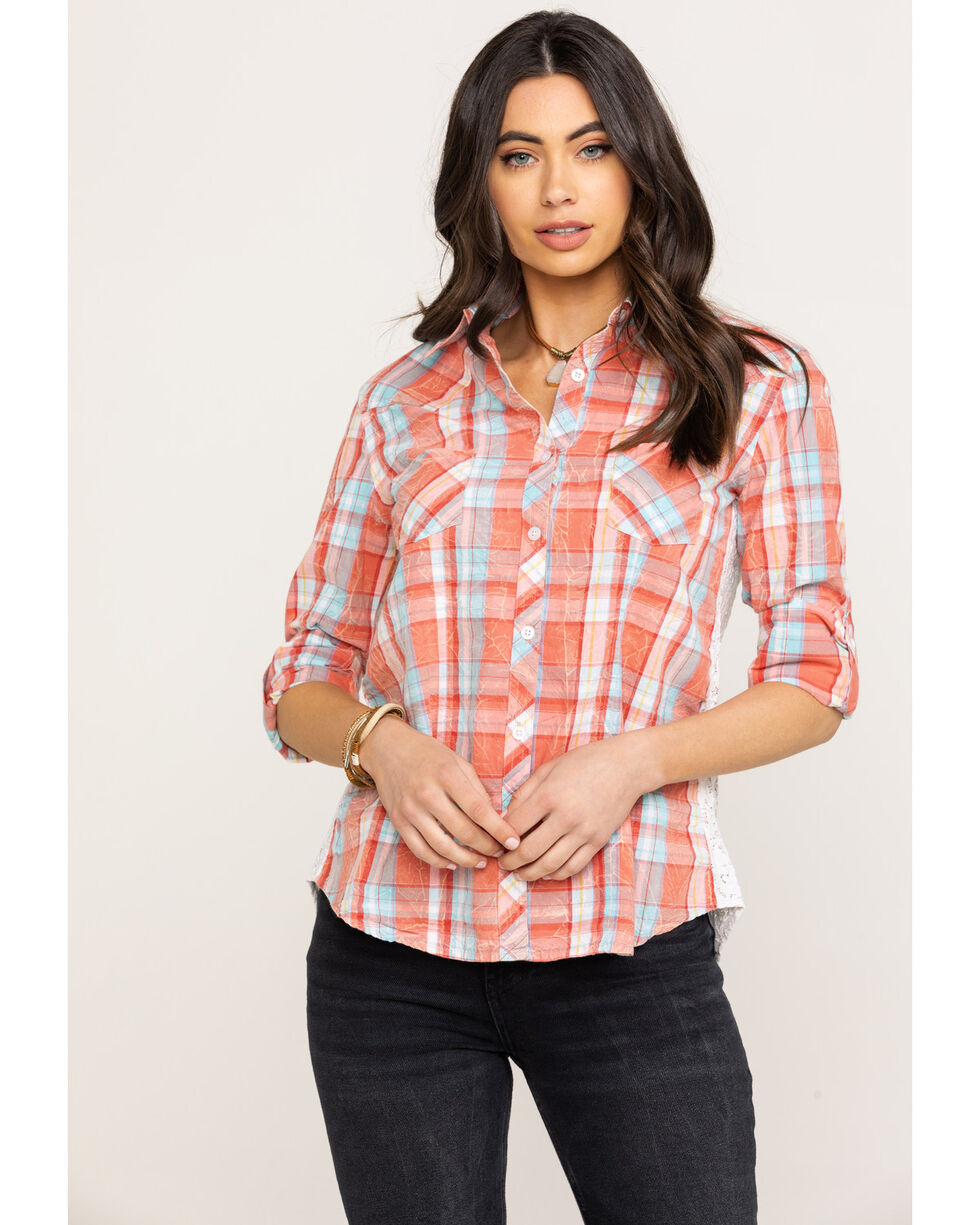 White Label by Panhandle Women's Plaid Button Down Lace Back Long Sleeve Top, Coral, hi-res