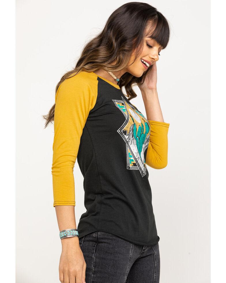 Rock & Roll Cowgirl Women's Black Cactus Baseball Tee, Dark Yellow, hi-res