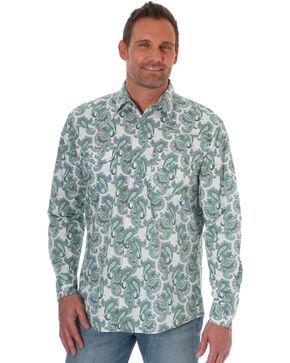 Wrangler 20X Men's Paisley Long Sleeve Western Shirt - Big & Tall, Green, hi-res