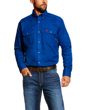 Ariat Men's FR Featherlight Long Sleeve Work Shirt , Royal Blue, hi-res