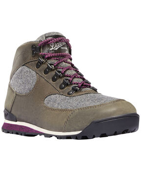 Danner Women's Gray Jag Wool Waterproof Boots - Round Toe , Charcoal, hi-res