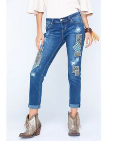 Grace in LA Women's Patch Front Jeans , Denim, hi-res
