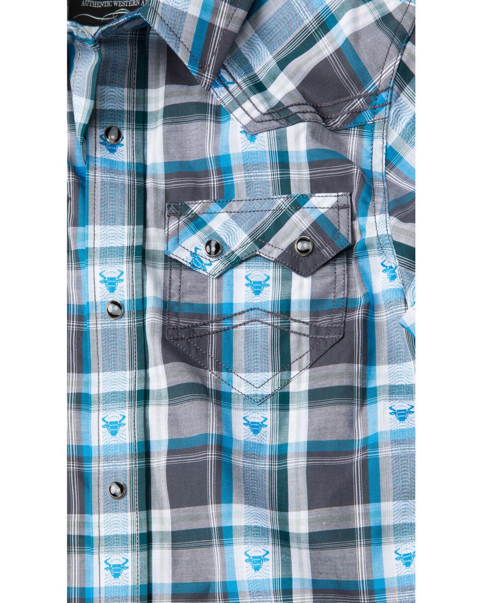 Cody James Boys' Bushwacker 2.0 Sawtooth Long Sleeve Western Shirt , Blue, hi-res