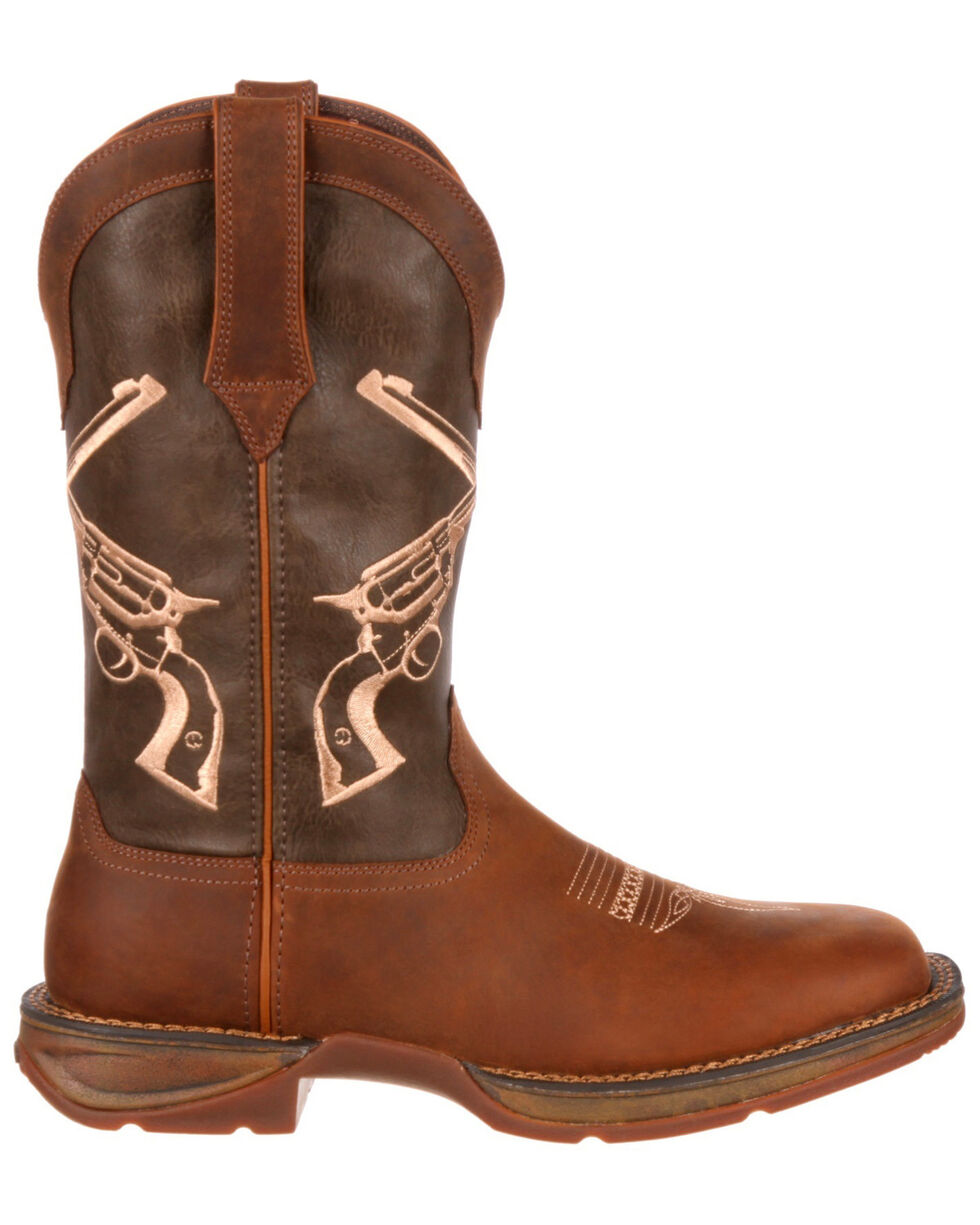 Durango Men's Rebel Crossed Guns Western Boots - Square Toe, Brown, hi-res