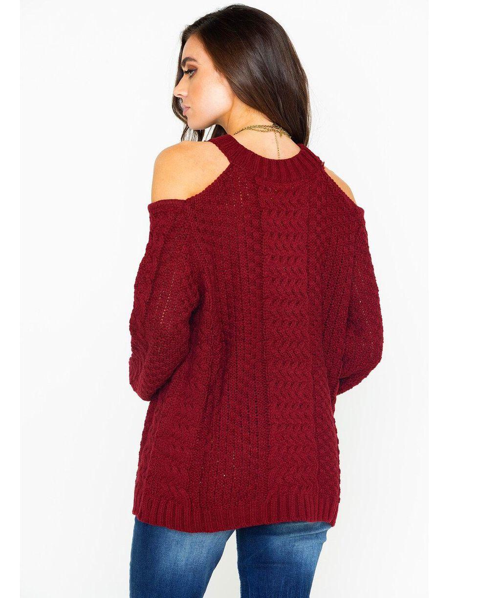 Elan Women's Cold Shoulder Keyhole Cable Knit Sweater, Burgundy, hi-res