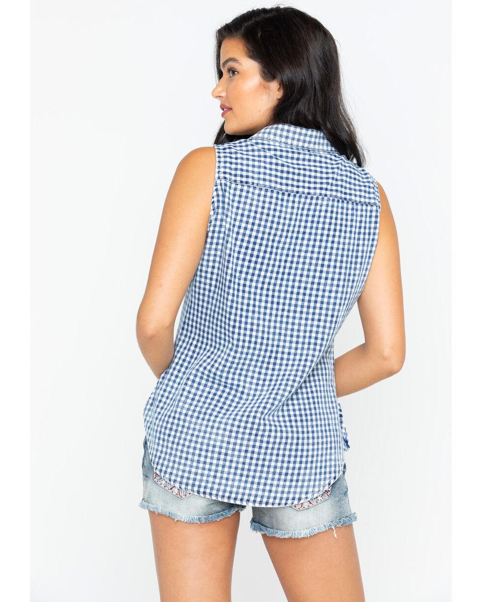 Shyanne Women's Floral Printed Plaid Sleeveless Shirt, , hi-res