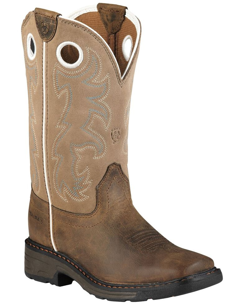 Ariat Child Distressed Workhog Boots - Soft Toe , , hi-res