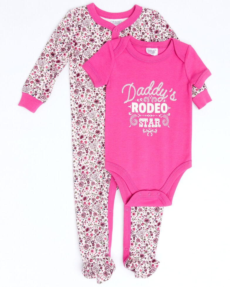 Shyanne Infant Girls Pink Daddys Rodeo Star Graphic Onesie Set , Pink, hi-res