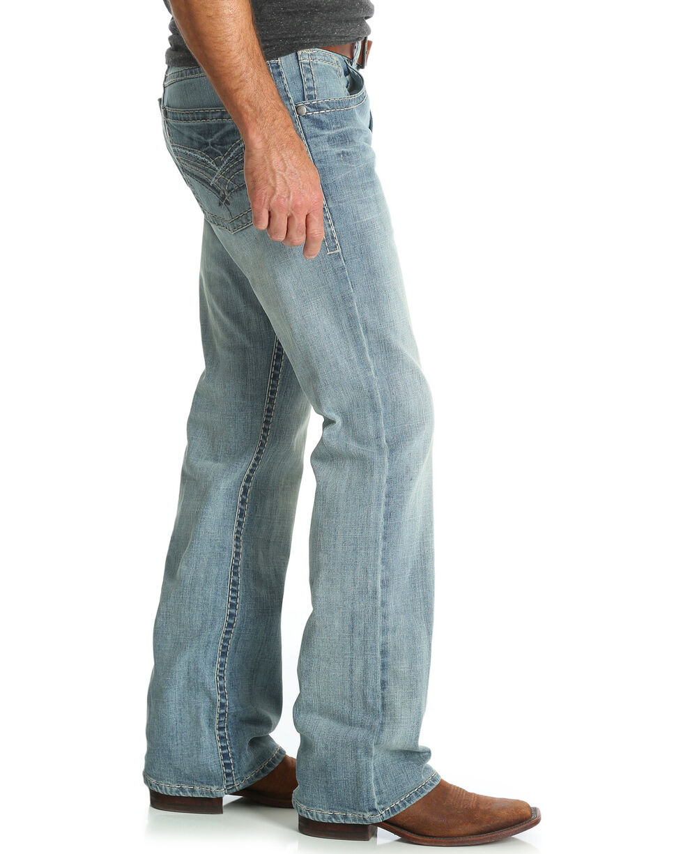 Rock 47 by Wrangler Men's Blue Relaxed Fit Jeans - Boot Cut , Blue, hi-res