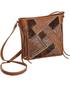 Shyanne Womens Tooled Hair On Calf Patchwork Crossbody Bag Brown Hi Res