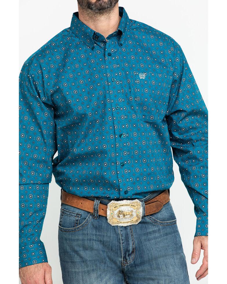 Cinch Men's Teal Geo Print Plain Weave Long Sleeve Western Shirt , Teal, hi-res