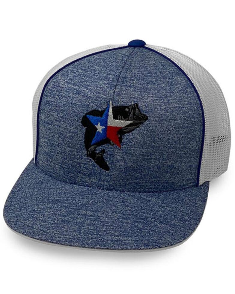 Oil Field Hats Men's Heather Blue Texas Bass Mesh-Back Ball Cap , Heather Blue, hi-res