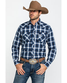 Wrangler Retro Men's Black Small Plaid Long Sleeve Western Shirt - Tall , Black, hi-res