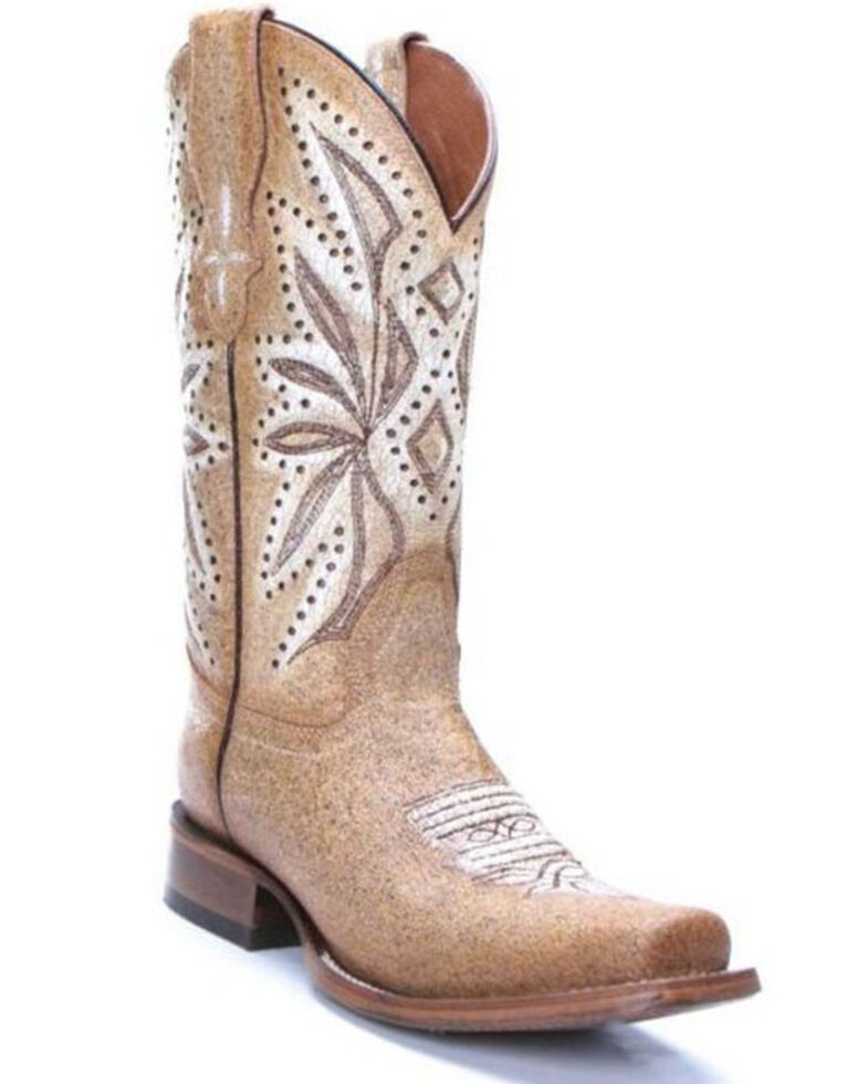 Circle G Women's Straw Laser & Embroidery Western Boots - Square Toe, Cream, hi-res