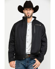 Cinch Men's Charcoal Textured Bonded Zip-Up Jacket, Charcoal, hi-res