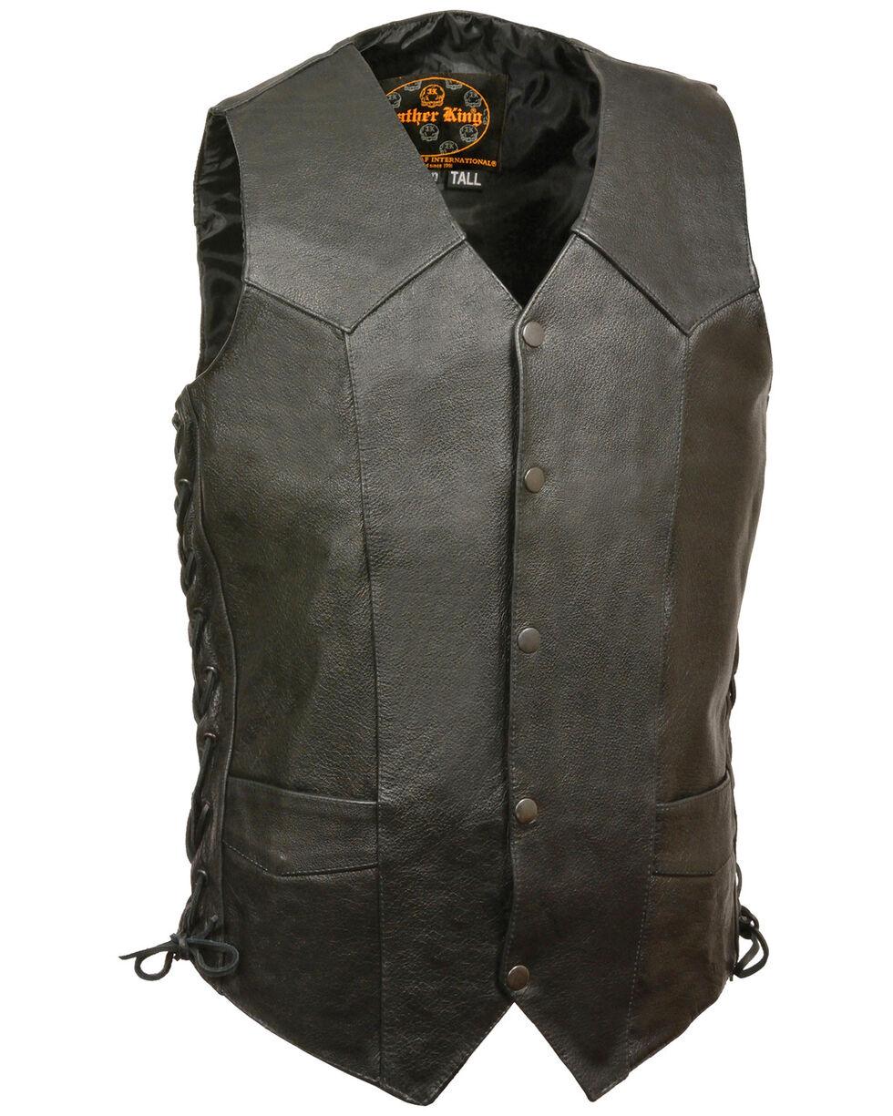Milwaukee Leather Men's Black Classic Side Lace Biker Vest - XBig & Tall , Black, hi-res