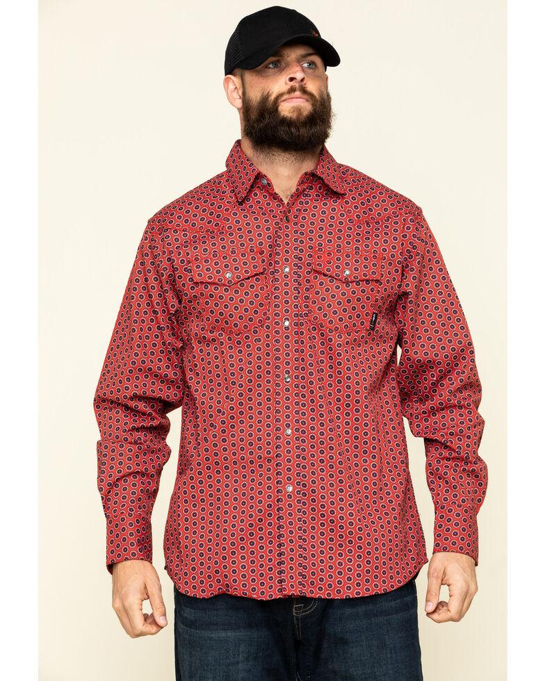 Ariat Men's FR Lubbock Retro Geo Print Long Sleeve Work Shirt , Dark Red, hi-res