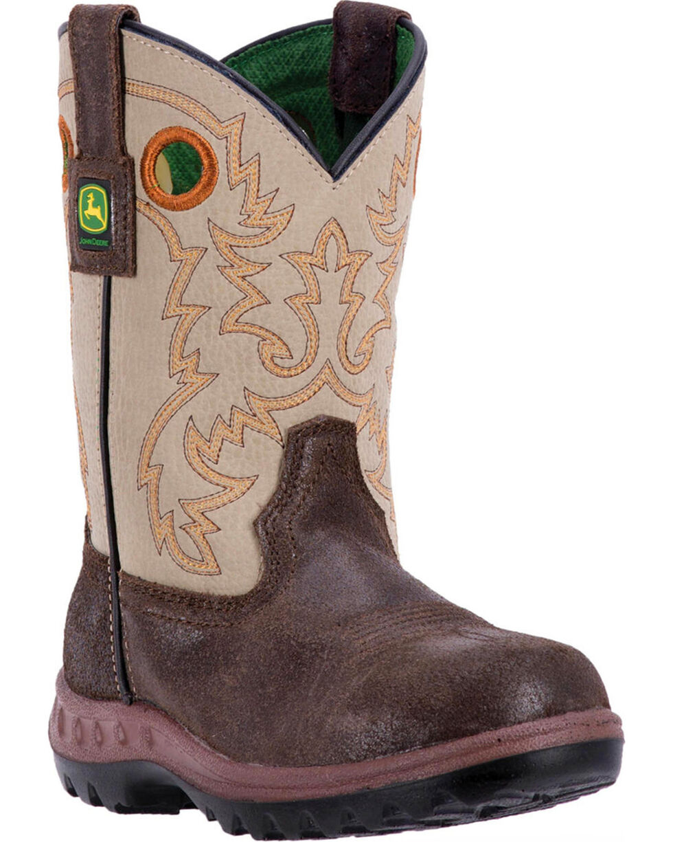 "John Deere Youth Boys' 8"" Cowboy Boots - Round Toe, Grey, hi-res"