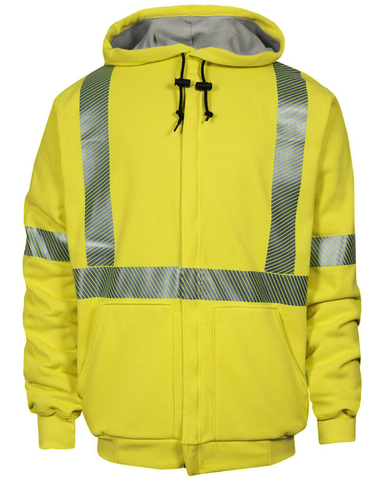 National Safety Apparel Men's FR Vizable Hi-Vis Waffle Weave Zip Front Work Sweatshirt- Tall , Bright Yellow, hi-res