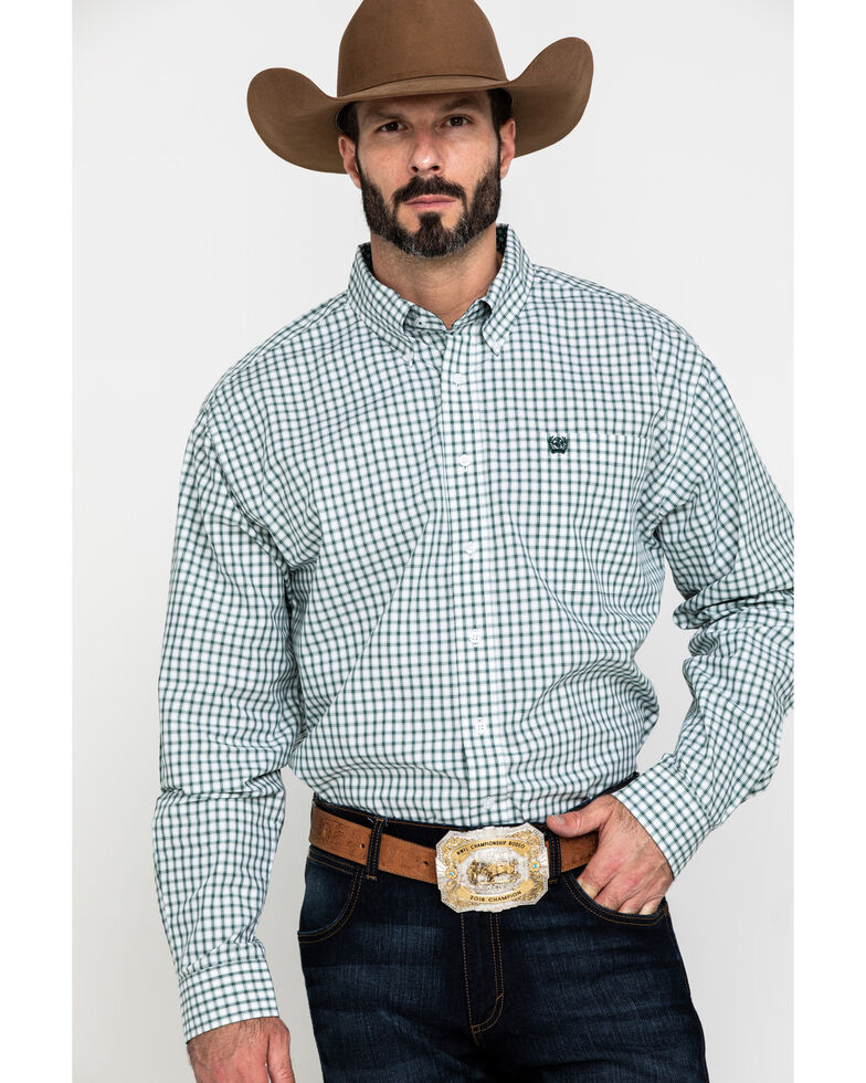 Cinch Men's White Plaid Button Long Sleeve Western Shirt , White, hi-res