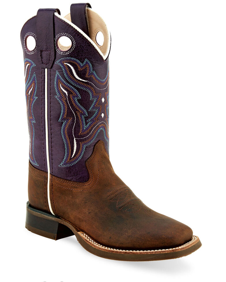 Old West Girls' Embroidered Shaft Western Boots - Wide Square Toe, Brown, hi-res