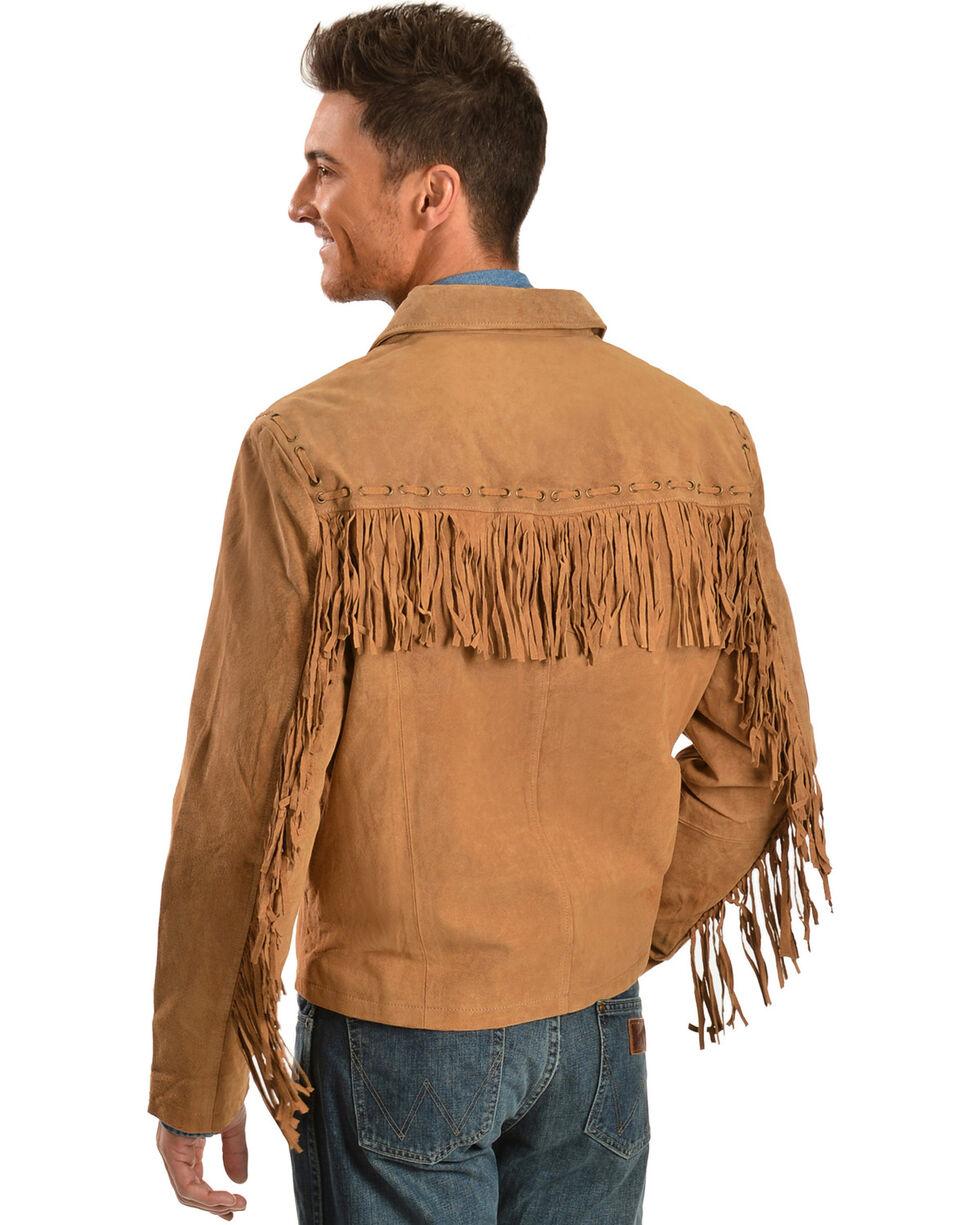 Scully Men's Boar Suede Fringe Jacket, Bourbon, hi-res