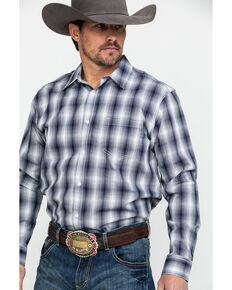 Gibson Men's Thorn Gate Plaid Long Sleeve Western Shirt , Navy, hi-res
